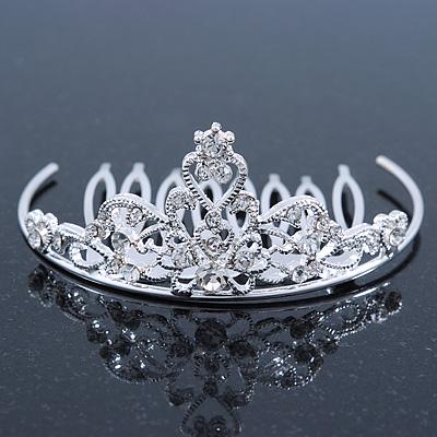 Princess Style Bridal/ Wedding/ Prom/ Party Rhodium Plated Swarovski Crystal Mini Hair Comb Tiara - 60mm - main view