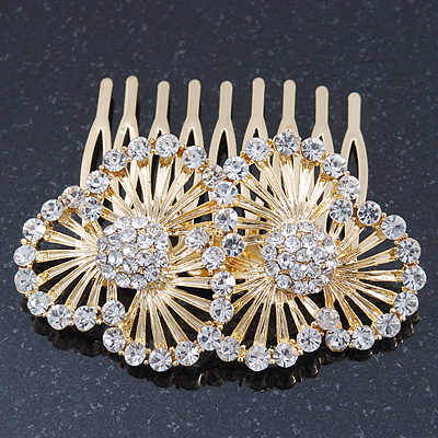 Bridal/ Wedding/ Prom/ Party Gold Plated Clear Swarovski Sculptured Double Flower Crystal Hair Comb - 65mm