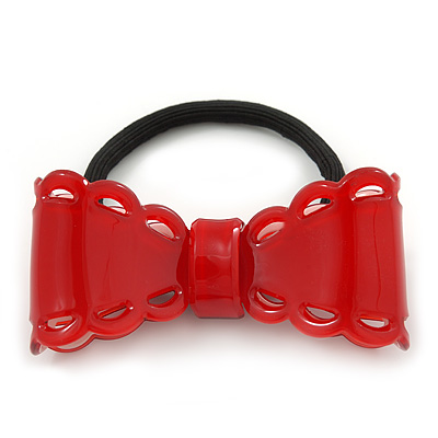 Red Acrylic Bow Pony Tail Hair Elastic/Bobble - 70mm Width - main view