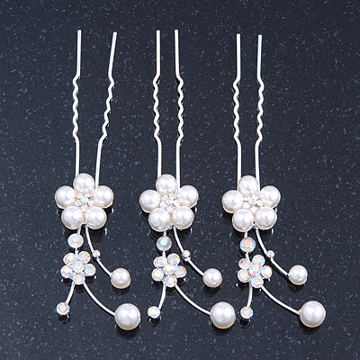 Bridal/ Wedding/ Prom/ Party Set Of 3 Rhodium Plated Simulated Pearl, Crystal Flower Hair Pins