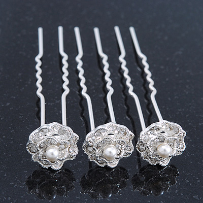Bridal/ Wedding/ Prom/ Party Set Of 3 Rhodium Plated Crystal Simulated Pearl Rose Flower Hair Pins - main view