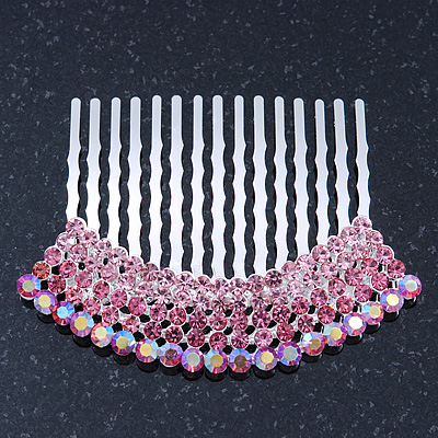 Rhodium Plated Pink/AB Gradient Swarovski Crystal Hair Comb - 60mm - main view