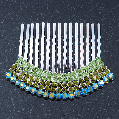 Rhodium Plated Green/AB Gradient Swarovski Crystal Hair Comb - 60mm