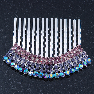 Rhodium Plated Purple/AB Gradient Swarovski Crystal Hair Comb - 60mm