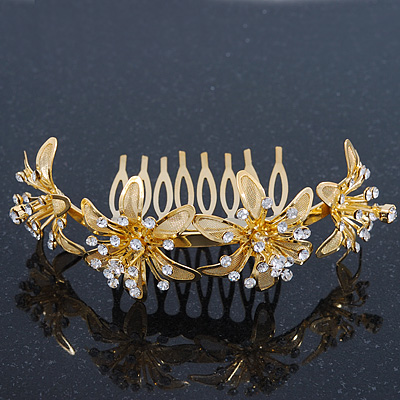 Bridal/ Wedding/ Prom/ Party Gold Plated Clear Swarovski Crystal Floral Hair Comb - 95mm - main view