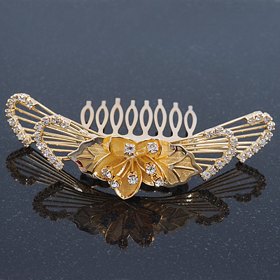 'Calla Lilly' Bridal/ Wedding/ Prom/ Party Gold Plated Clear Swarovski Crystal Floral Hair Comb - 100mm - main view