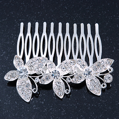 Bridal/ Wedding/ Prom/ Party Rhodium Plated Clear Swarovski Crystal Butterfly Hair Comb - 75mm