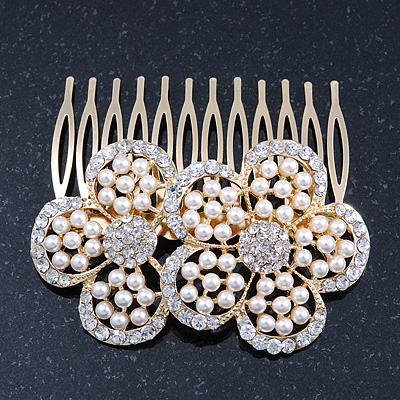 Bridal/ Wedding/ Prom/ Party Gold Plated Clear Austrian Sculptured Double Flower Crystal/Simulated Pearl Hair Comb - 75mm