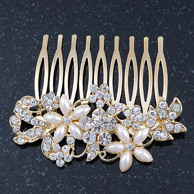 Bridal/ Wedding/ Prom/ Party Gold Plated Clear Crystal and Light Cream Simulated Pearl Floral Hair Comb - 50mm - main view