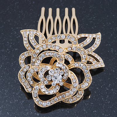 Bridal/ Wedding/ Prom/ Party Gold Plated Clear Austrian Crystal Sculptured Rose Hair Comb - 55mm - main view