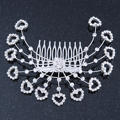 Statement Bridal/ Wedding/ Prom/ Party Rhodium Plated Clear Swarovski Sculptured Heart Crystal Hair Comb - 11.5cm Width - main view