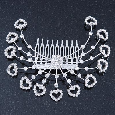 Statement Bridal/ Wedding/ Prom/ Party Rhodium Plated Clear Swarovski Sculptured Heart Crystal Hair Comb - 11.5cm Width