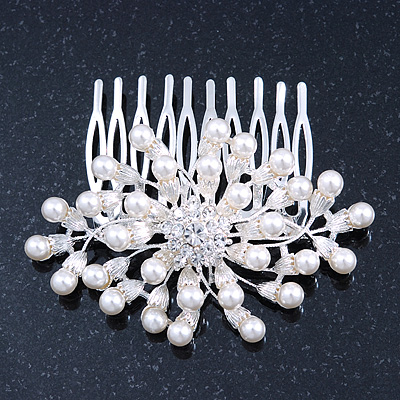Bridal/ Wedding/ Prom/ Party Rhodium Plated Cluster White Simulated Pearl Bead and Swarovski Crystal Hair Comb - 80mm - main view