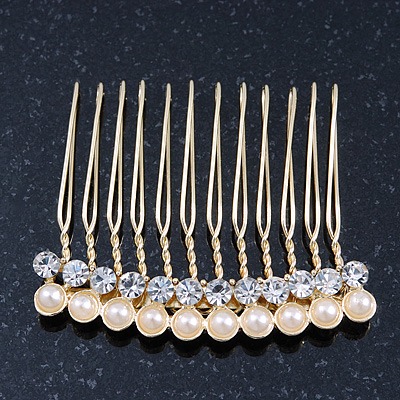 Bridal/ Wedding/ Prom/ Party Gold Plated Clear Crystal and Light Cream Simulated Pearl Mini Hair Comb - 50mm