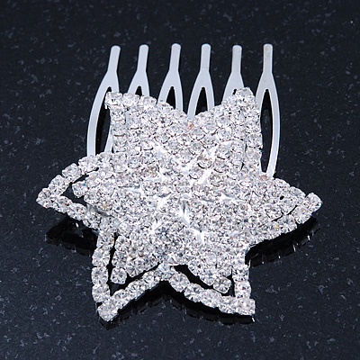 'Shining Star' Rhodium Plated Clear Swarovski Crystal Mini Hair Comb - 45mm