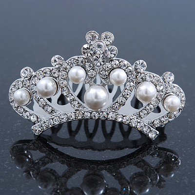 Princess Style Bridal/ Wedding/ Prom/ Party Rhodium Plated Swarovski Crystal and White Simulated Pearl Mini Hair Comb Tiara - 50mm