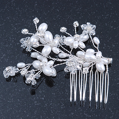 Bridal/ Wedding/ Prom/ Party Rhodium Plated Clear Austrian Crystal Simulated Pearl Butterfly Hair Comb - 80mm