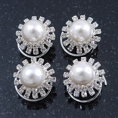 Bridal/ Wedding/ Prom/ Party Set Of 4 Rhodium Plated Crystal Glass Pearl Spiral Twist Hair Pins