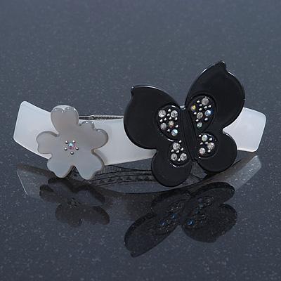 Grey, Black Acrylic Crystal 'Butterfly & Flower' Barrette Hair Clip Grip - 85mm Across - main view