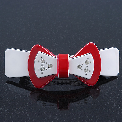 White/ Red Acrylic Crystal Bow Barrette Hair Clip Grip - 80mm Across
