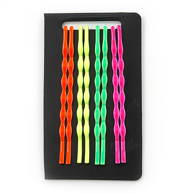Set Of 4 Pair Hair Grips/ Slides In Neon Orange/ Neon Green/ Neon Yellow/ Neon Pink