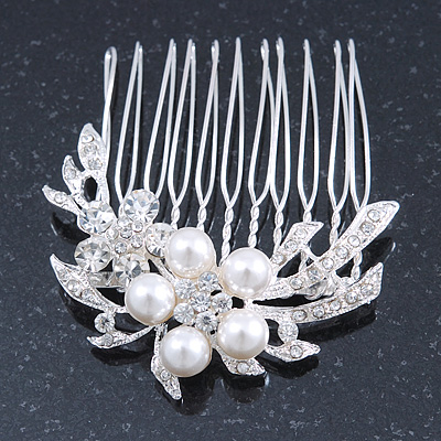 Bridal/ Wedding/ Prom/ Party Rhodium Plated Clear Austrian Crystal, Simulated Glass Pearl Double Flower Hair Comb - 50mm