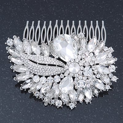 Bridal/ Wedding/ Prom/ Party Rhodium Plated Clear Swarovski Sculptured Leaf Crystal Hair Comb - 100mm