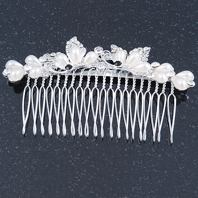 Bridal/ Wedding/ Prom/ Party Rhodium Plated Clear Crystal Simulated Pearl Double Butterfly Hair Comb - 95mm