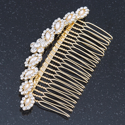 Bridal/ Wedding/ Prom/ Party Gold Plated Clear Crystal, Light Cream Faux Pearl Hair Comb - 95mm - main view