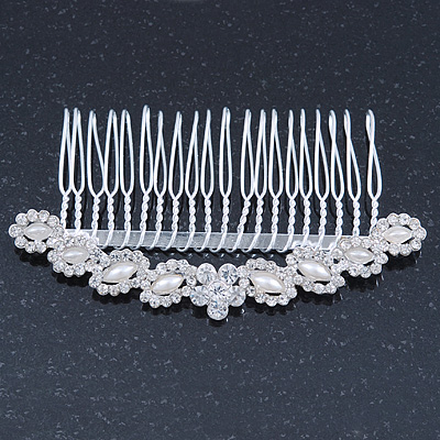 Bridal/ Wedding/ Prom/ Party Rhodium Plated Clear Crystal, Light Cream Faux Pearl Hair Comb - 95mm