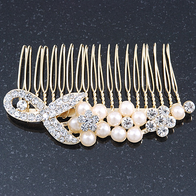 Bridal/ Wedding/ Prom/ Party Gold Plated Clear Austrian Crystal, Simulated Pearl Floral Hair Comb - 85mm
