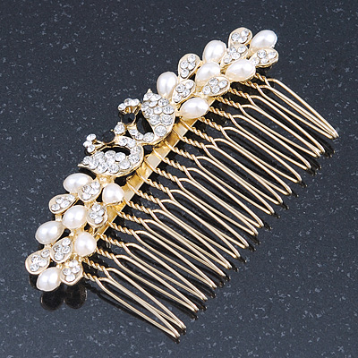 Bridal/ Wedding/ Prom/ Party Gold Plated Clear Crystal, Simulated Pearl 'Double Peacock' Hair Comb - 95mm - main view