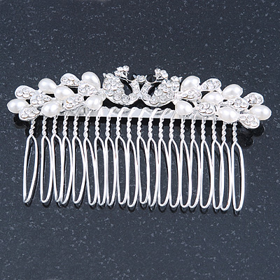 Bridal/ Wedding/ Prom/ Party Rhodium Plated Clear Crystal, Simulated Pearl 'Double Peacock' Hair Comb - 95mm