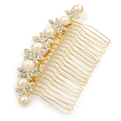 Bridal/ Wedding/ Prom/ Party Gold Plated Clear Crystal, Simulated Pearl Butterfly Hair Comb - 95mm - main view