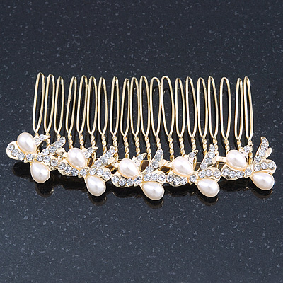 Bridal/ Wedding/ Prom/ Party Gold Plated Clear Austrian Crystal, Light Cream Simulated Pearl Bow Hair Comb - 90mm