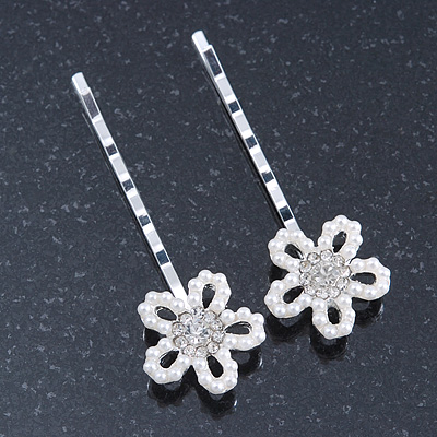 2 Bridal/ Prom Crystal, Simulated Pearl 'Open Daisy' Hair Grips/ Slides In Rhodium Plating - 60mm Across