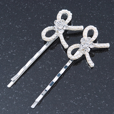 2 Bridal/ Prom Crystal, Simulated Pearl 'Bow' Hair Grips/ Slides In Rhodium Plating - 60mm Across