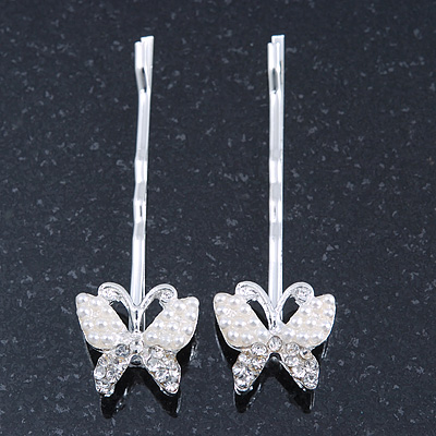 2 Bridal/ Prom Crystal, Simulated Pearl 'Butterfly' Hair Grips/ Slides In Rhodium Plating - 50mm Across