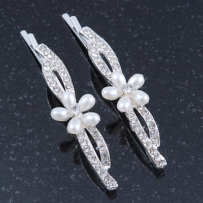 2 Bridal/ Prom 'Crystal Leaves And Simulated Pearl Flower' Hair Grips/ Slides In Rhodium Plating - 60mm Across - main view