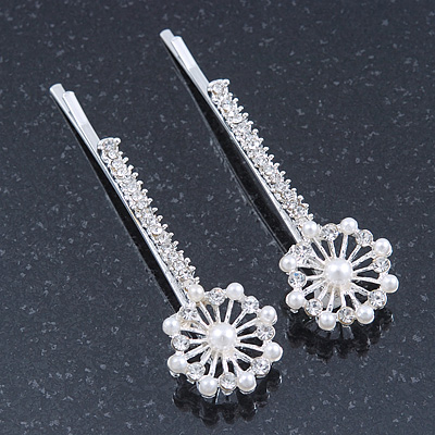 2 Bridal/ Prom Crystal, Simulated Pearl Filigree Flower Hair Grips/ Slides In Rhodium Plating - 55mm Across - main view