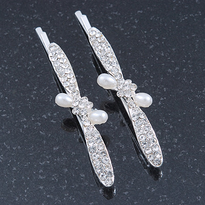 2 Bridal/ Prom 'Crystal Leavs and Flower' Hair Grips/ Slides In Rhodium Plating - 60mm Across - main view