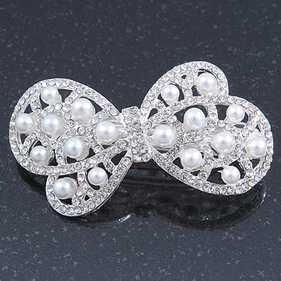 Bridal Wedding Prom Silver Tone Simulated Pearl Diamante 'Bow' Barrette Hair Clip Grip - 65mm Acros - main view