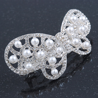 Bridal Wedding Prom Silver Tone Simulated Pearl Diamante 'Asymmetrical Butterfly' Barrette Hair Clip Grip - 65mm Across - main view