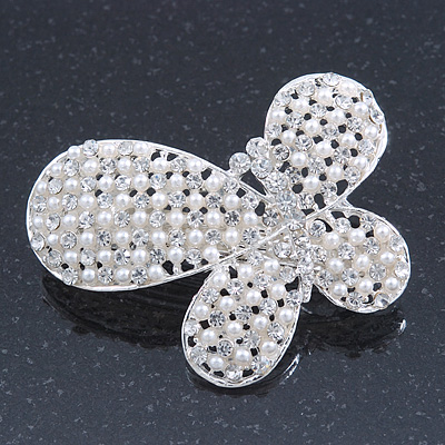 Bridal Wedding Prom Silver Tone Simulated Pearl Diamante 'Asymmetrical Butterfly' Barrette Hair Clip Grip - 60mm Across - main view