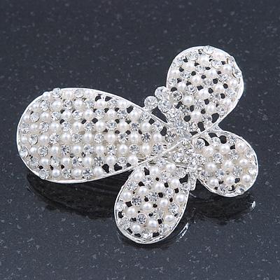 Bridal Wedding Prom Silver Tone Simulated Pearl Diamante 'Asymmetrical Butterfly' Barrette Hair Clip Grip - 60mm Across - main view