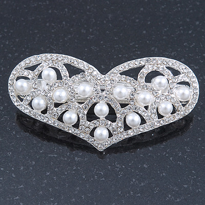 Bridal Wedding Prom Silver Tone Simulated Pearl Diamante 'Heart' Barrette Hair Clip Grip - 65mm Across