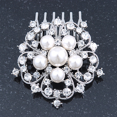 Bridal/ Wedding/ Prom/ Party Rhodium Plated Austrian Clear Crystal, Simulated Glass Pearl 'Open Flower' Hair Comb - 55mm - main view