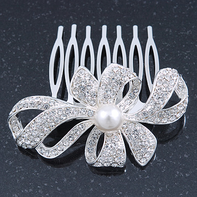 Bridal/ Wedding/ Prom/ Party Rhodium Plated Clear Austrian Crystal, Simulated Glass Pearl 'Bow' Hair Comb - 60mm