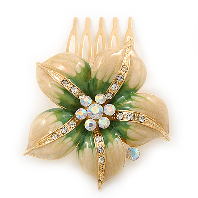 Gold Plated Pale Yellow/ Green Enamel AB Crystal 'Flower' Hair Comb - 55mm