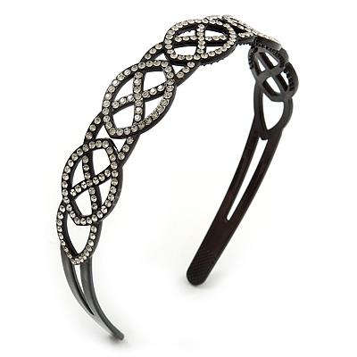 Black Acrylic Alice/ Hair Band/ HeadBand With Clear Crystal Oval Motif